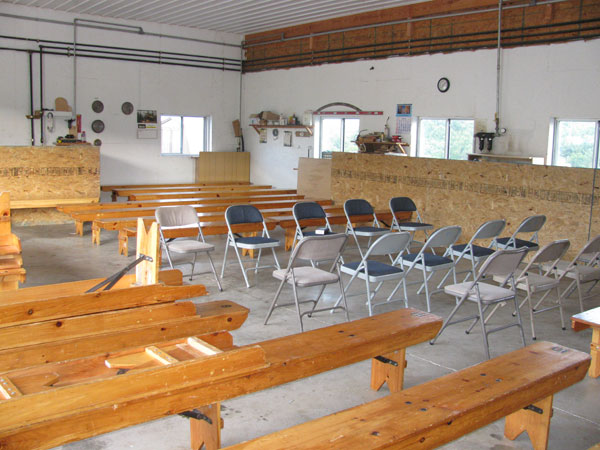 Amish church set up in a shed.