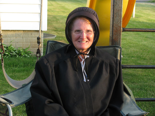 Wanda dressed in Amish friend's clothes.
