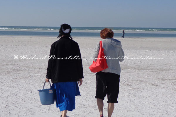 Wanda walking the beach in Sarasota with one of her Amish friends.