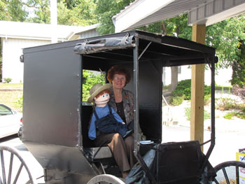 Wanda and Solomon Lapp in Amish buggy