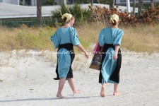 Amish girls on the beach