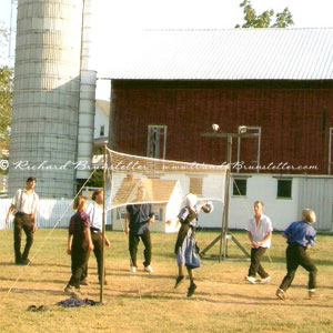 Amish young people playing volleyball