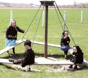 Amish children on the playground