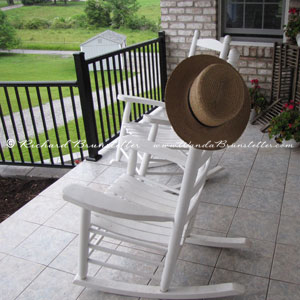 Rocking chairs on an Amish porch