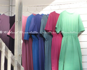Dresses on clothes line